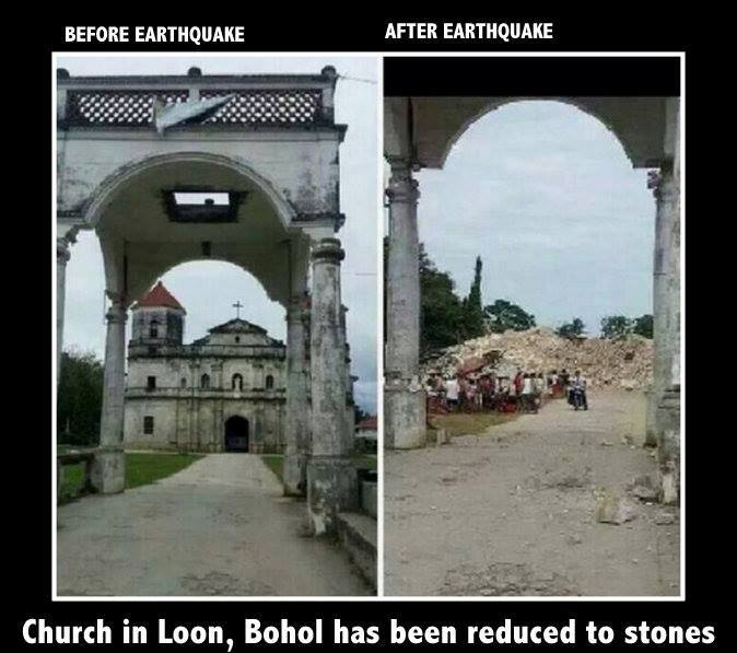 Loon Church reduced to stones